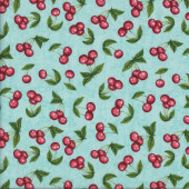 Red Cherries on Aqua Home Quilting Fabric