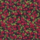 Red Cherries on Black Fruit Kitchen Quilting Fabric