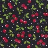 Red Cherries on Black Dots Fruit Basket Kitchen Quilting Fabric
