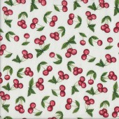 Red Cherries on White Home Quilting Fabric