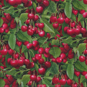 Red Cherries with Green Leaves Quilting Fabric