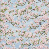 Pink Cherry Blossom Flowers on Sky Quilting Fabric
