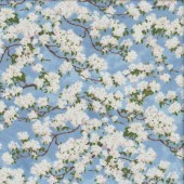 White Cherry Blossom Flowers Quilting Fabric