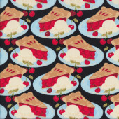 Cherry Pies on Blue Plates Cherries Ice Cream Quilting Fabric