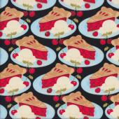 Cherry Pies on Blue Plates Cherries Ice Cream Quilting Fabric