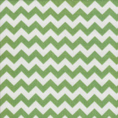 Green and White Chevron Design Zig Zag Quilting Fabric