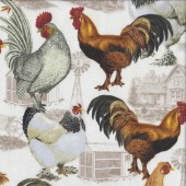 Roosters Chicken Coop on White Bird Farm Animal Quilting Fabric