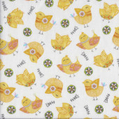 Yellow Chickens on White Flowers Carrot Patch Quilting Fabric