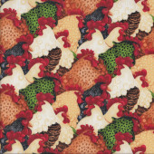 Roosters Chickens Country Farm Raised Birds Quilting Fabric