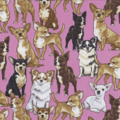 Chihuahua Dogs Quitling Fabric