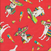 Chihuahua Dogs on Orange Red Pet Animal Quilting Fabric