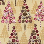 Chocolate Candy Tree Confections Cream Quilt Fabric
