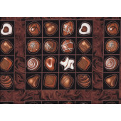 Chocolates in Squares Confectionery Quilt Fabric Panel