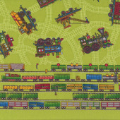 Trains Choo Choo You Green Boys Quilt Fabric