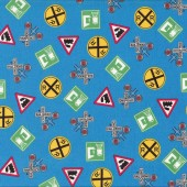 Train Railway Signs Choo Choo You Blue Boys Quilt Fabric