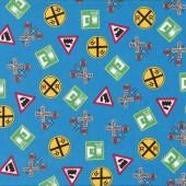 Train Railway Signs Choo Choo You Blue Boys Quilt Fabric