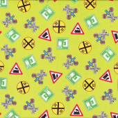 Train Railway Signs Choo Choo You Green Boys Quilt Fabric