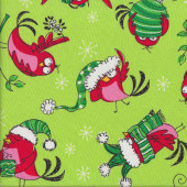 Funky Red Christmas Birds Quilting Fabric