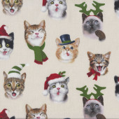 Christmas Cat Selfies Quitling Fabric
