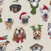 Christmas Dog Puppy Faces Selfies on Cream Quilting Fabric