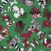 Pet Dogs in Stockings Quilting Fabric