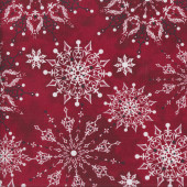 Christmas Dreams on Red Snowflakes by Ivy Lane Quilting Fabric