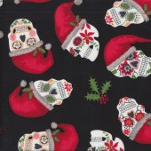 Christmas Colourful Sugar Skulls Holly on Black Quilting Fabric