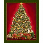 Christmas Tree Decorations Presents with Metallic Gold Quilting Fabric Panel