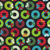 Colourful Patterned Christmas Wreaths on Black Quilting Fabric