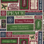 Merry Christmas Greetings Peace Jolly Elegance on White Quilting Fabric