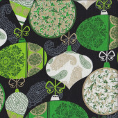 Christmas Decorations Black Quilting Fabric