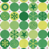 Green Christmas Circles on White Stars Snowflakes Quilting Fabric