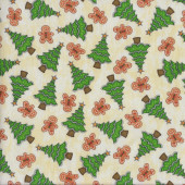 Trees Gingerbread on Cream Quilting Fabric