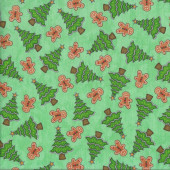 Trees Gingerbread on Green Quilting Fabric