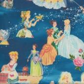 Cinderella on Blue Girls Licensed Quilting Fabric