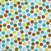 Brown Aqua Lime Green Circles on White Remix Quilt Fabric