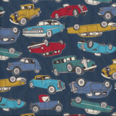 Old Classic Cars on Navy Quilting Fabric