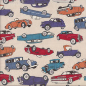 Old Classic Cars on Beige Quilting Fabric