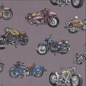Old Classic Motorcycles Quilting Fabric