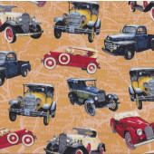 Classic Vintage Cars Trucks Road Map Boys Mens Quilting Fabric