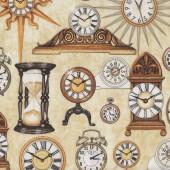 Antique Mantel Clocks on Cream Hourglass Alarm Wall Quilting Fabric