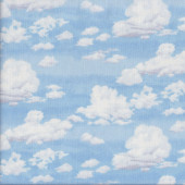 White Clouds on Blue Sky Landscape Quilting Fabric