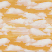 White Clouds on Golden Yellow Quilting Fabric