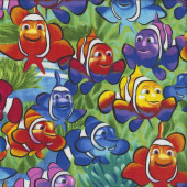 Happy Colourful Clown Fish Kids Ocean quilting Fabric