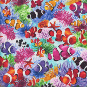 Colourful Clownfish and Coral on Blue Fish Ocean Quilting Fabric