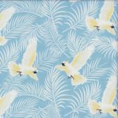 Cockatoos on Blue Australiana Soaring Birds Quilting Fabric