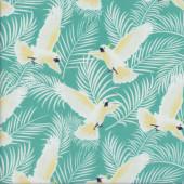 Cockatoos on Green Australiana Soaring Birds Quilting Fabric