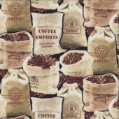Coffee Import Bags Beans Drinks on Black Quilting Fabric