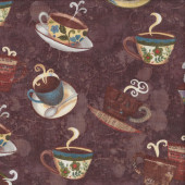 Coffee House Mugs Teacups Cups Drinks on Brown Quilting Fabric