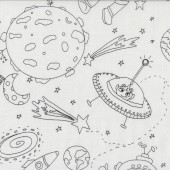 Space Color Me Planets Quilting Fabric